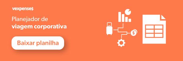 Banner oferecendo download gratuito do material planejador de viagem corporativa, ilustrado por ícones que representam gráficos, uma mala, uma moeda, uma negrenagem e uma folha de cálculo do Excel, e um botão clicável com os dizeres baixar planilha