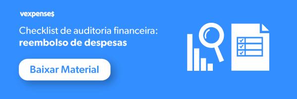 Banner oferecendo o download gratuito de um template para realização de auditoria financeira de reembolso de despesas, mostrando a imagem de um gráfico, uma lupa e um checklist e um botão com o escrito Baixar Material