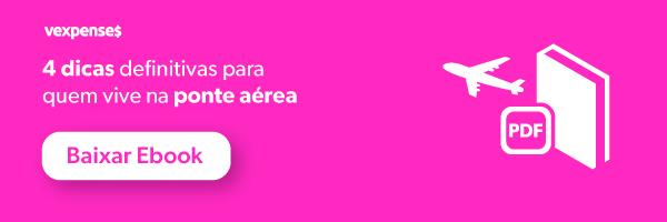 Banner oferecendo o download gratuito do eBook 4 dicas definitivas para quem vive na ponte aérea, ilustrado com a imagem de um avião e um livro, e um botão clicável com os dizeres Baixar Ebook