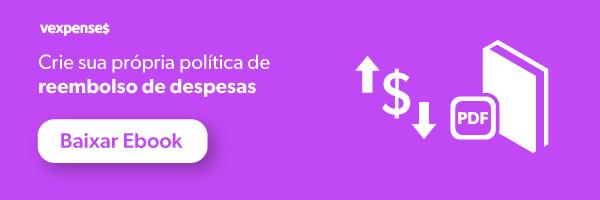 Banner oferecendo download do ebook Crie sua própria política de reembolso de despesas, ilustrado pelo ícone de um cifrão com uma seta apontado para cima e uma seta apontando para baixo, e um livro, e um botão clicável com os dizeres baixar ebook.
